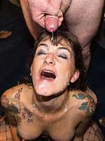 Adreena Winters and Lola Marie take facials in a bukkake party