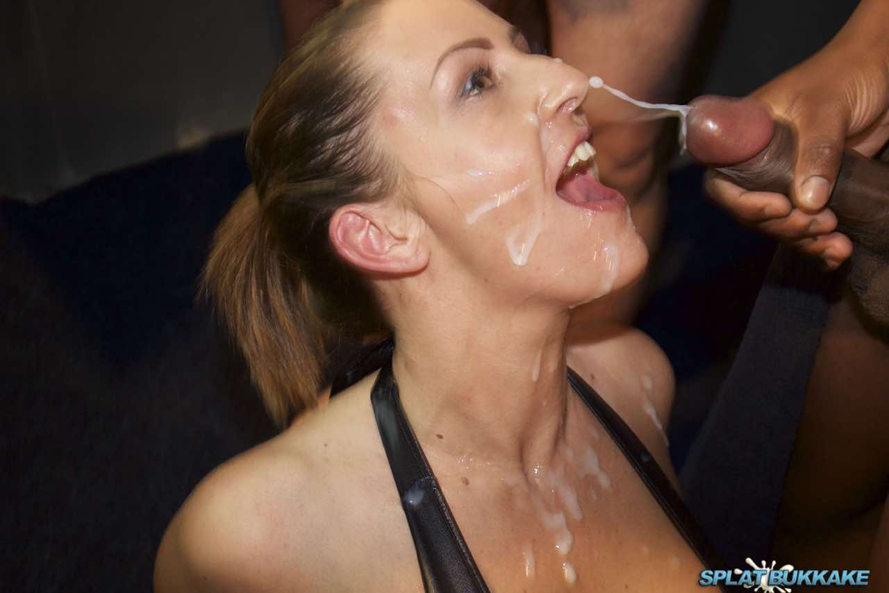 Brunette takes a messy double facial 4