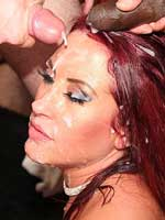 Gorgeous Tyla Moore gets covered in cum in a sticky bukkake party