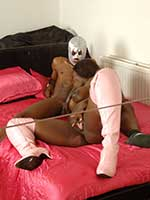 British ebony porn with Melvina Raquel in thigh high leather boots