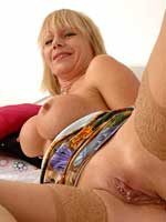 mature british pornstar jane Bond shows off a perfect pierced pussy