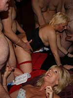 3-girl gangbang party in a swingers club