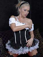 Pornstar blonde Jessica Loveitt dresses in a French Maids uniform and fishnets
